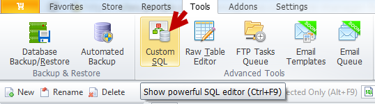 Custom SQL section
