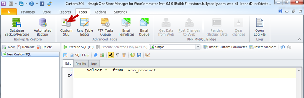 Custom SQL section