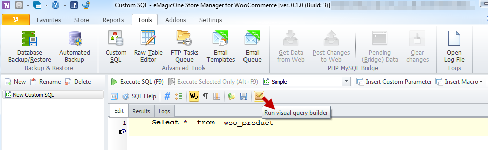 Run Visual query Builder