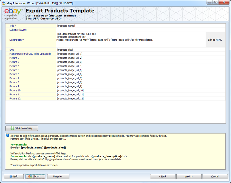 Export products template