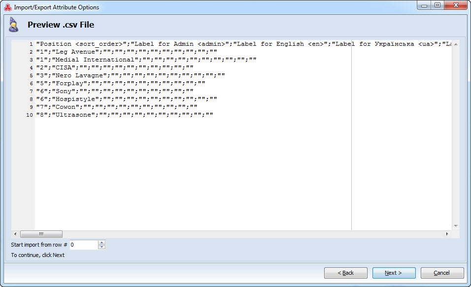 Preview csv file