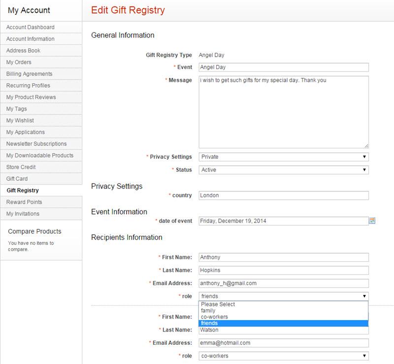 gift Registry front-end