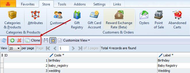 Gift registry tollbar