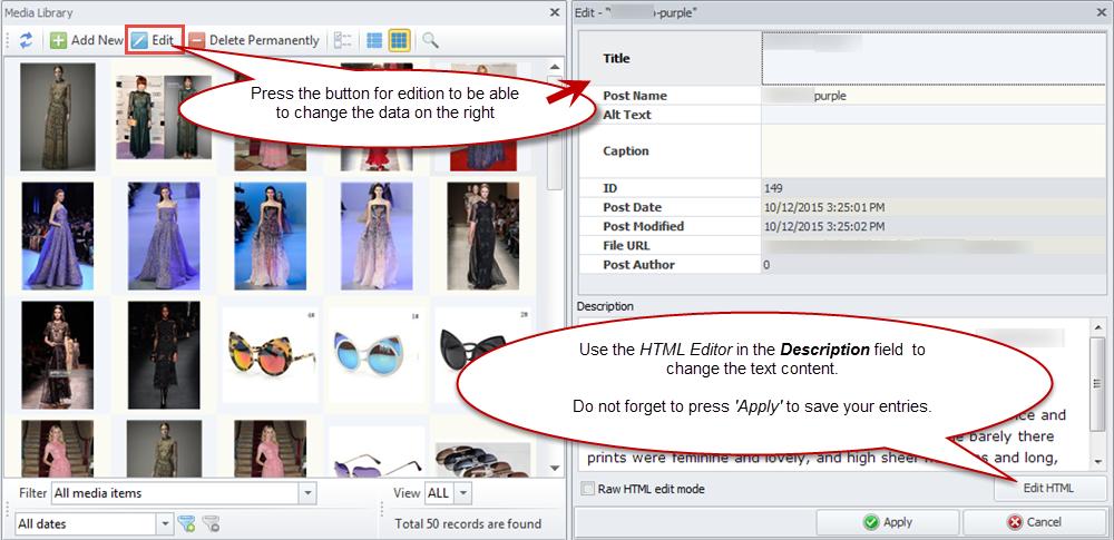 HTML Editor option