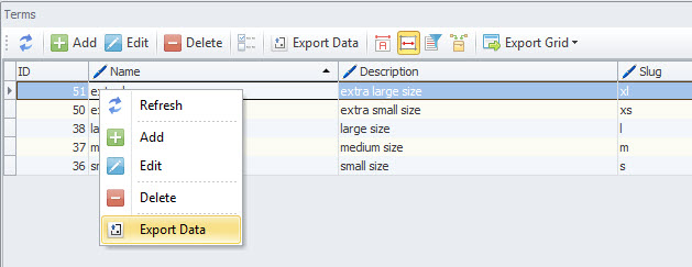 Export Data in Context Menu