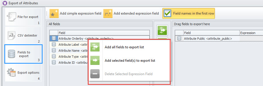 Add options in context menu
