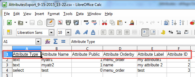 Column names in the first row