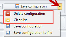 'Save configuration' options
