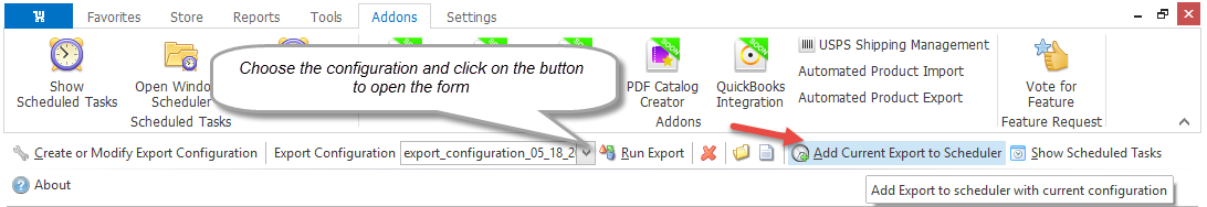Add current export configuration to the Scheduler