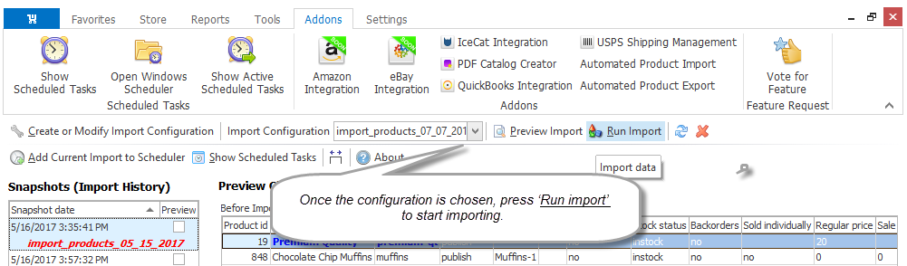 Select configuration and run import