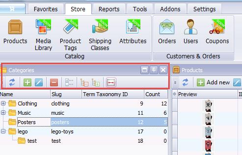Categories toolbar