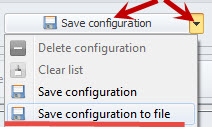 Save configuration options