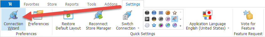 Connection Wizard in Preferences