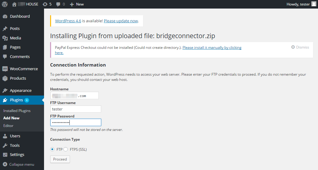 Installing plugin from uploaded modules step