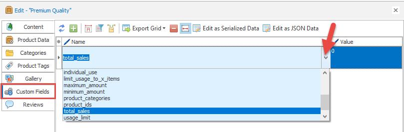 Custom fields drop-down list