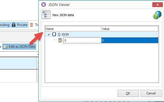 Edit as JSON data