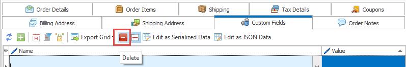 Orders delete button