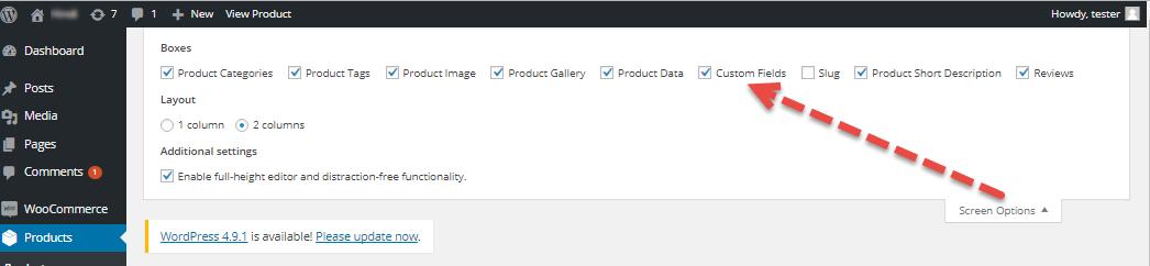 Screen options menu