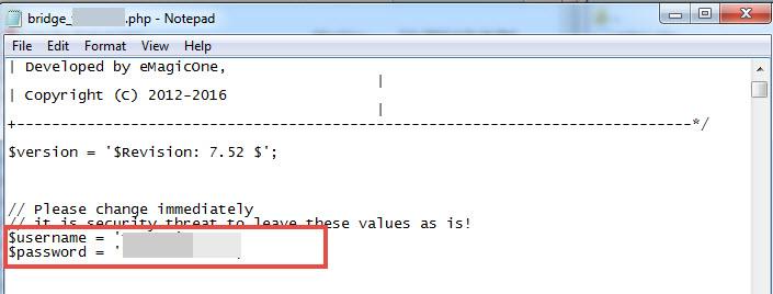 Bridge credentials in file