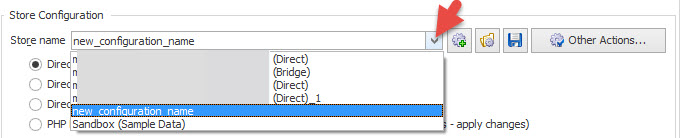 New configuration in the dropdown list