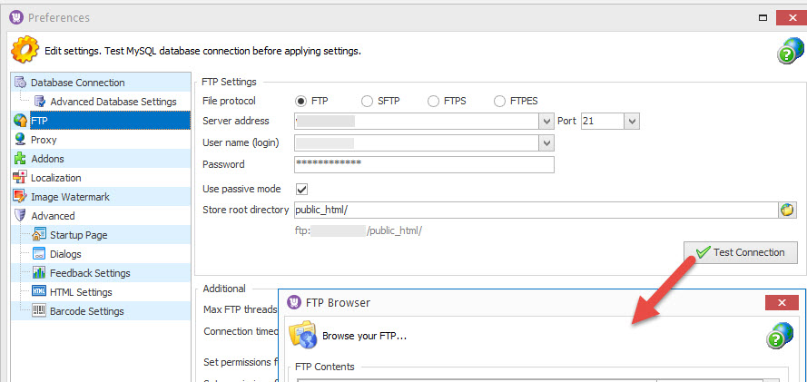 FTP browse settings