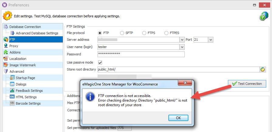 FTP error message