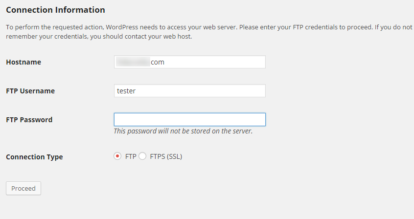 FTP credentials