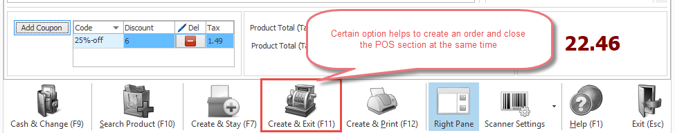 Create and Exit option in POS