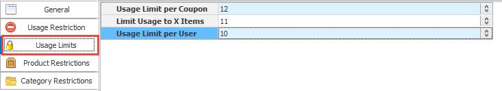 Usage limits tab