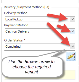 Edit delivery and payment details