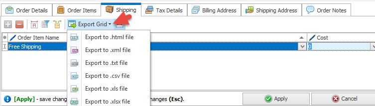 Export Grid in Shipping tab