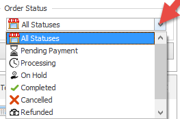 Order status for filtering