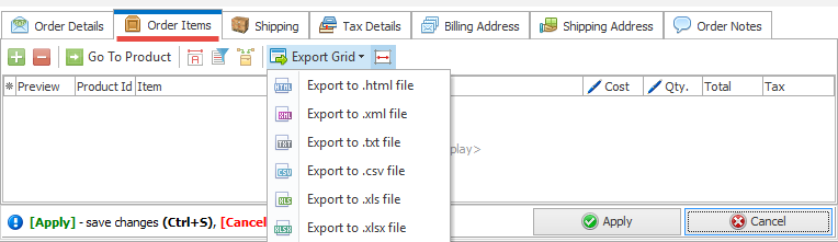 Export Grid option