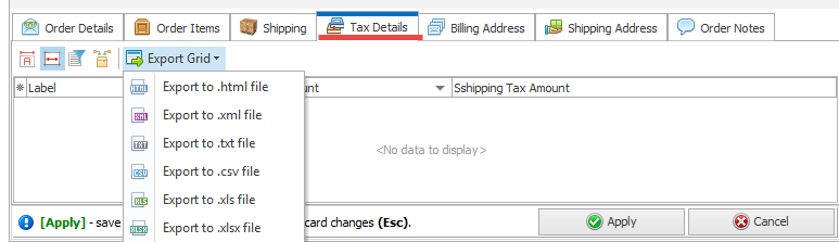 Export Grid fro Taxes details