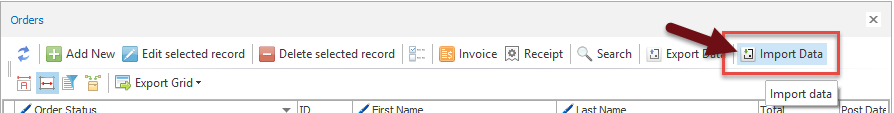 Import data option