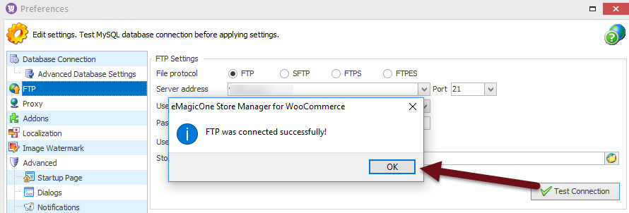 FTP test connection