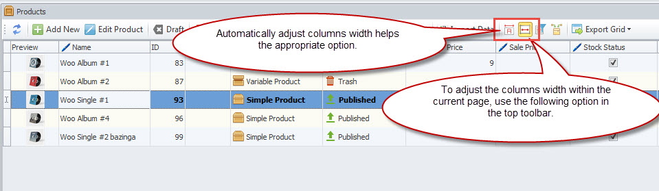 Adjust and automate columns width