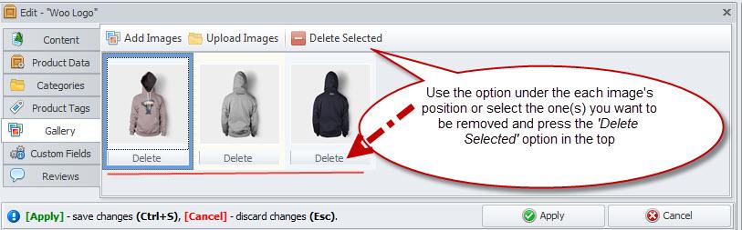 Delete images option
