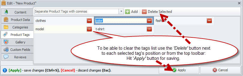 Delete tags from a list