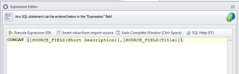 CONCAT Expression formula