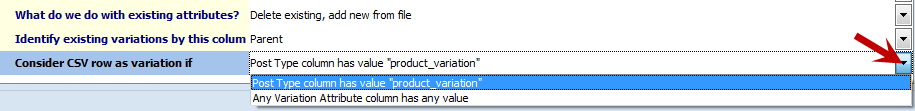 Consider CSV row as variation