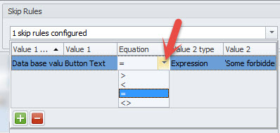 Equation column in Skip Rules area