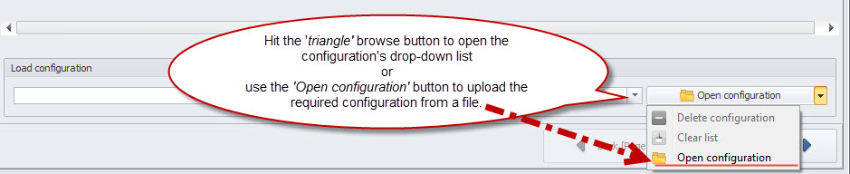 Upload configuration field