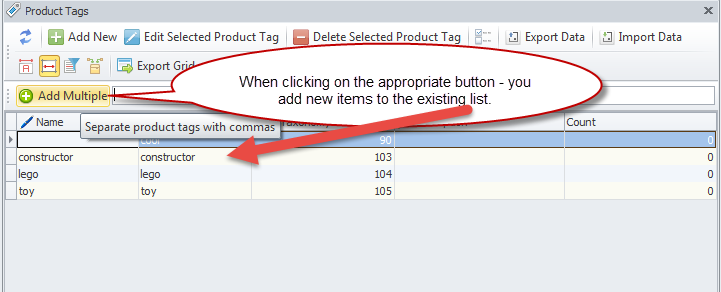 Add multiple tags to the Tags list