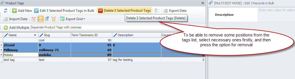 Delete selected product tag