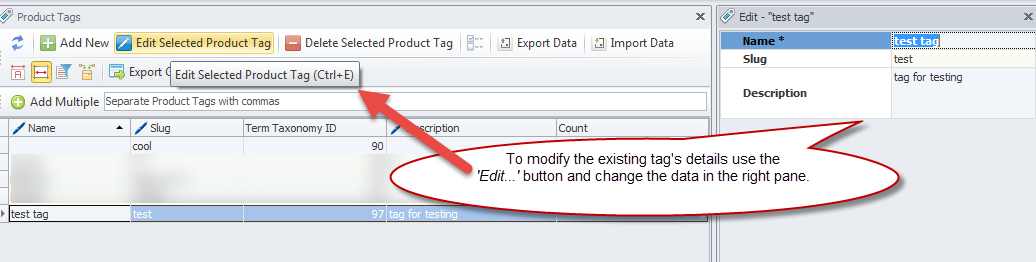 Edit selected product tag