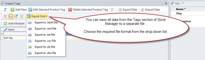 Export Grid option