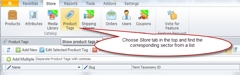 Product Tags section of Store Manager