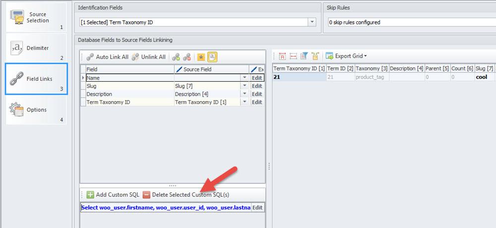 Delete Custom SQL