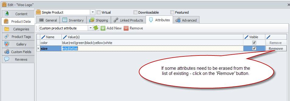 Remove button in the Attributes tab